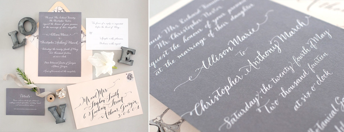 Custom calligraphy for wedding invitations fleur de letters invites 2 stopboris Choice Image